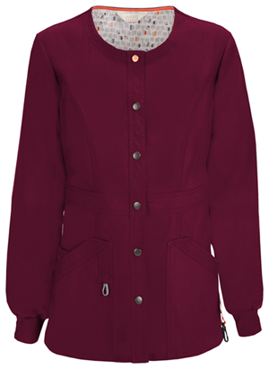 Code Happy Bliss Snap Front Warm-up Jacket in Wine (46300A - WICH)