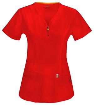 Code Happy Code Happy Bliss Women's V-Neck Top Red