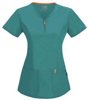 Code Happy Bliss V-Neck Top in Teal (46600A - TLCH)