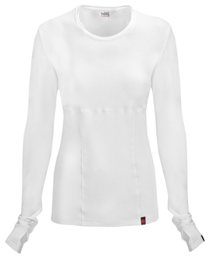 Code Happy Code Happy Bliss Women's Long Sleeve Underscrub Knit Tee White