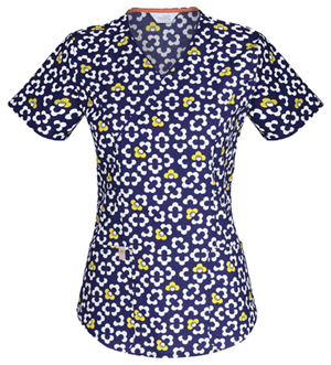 Code Happy Code Happy Prints Women's Mock Wrap Top Blue