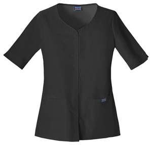 Cherokee Workwear WW Originals Women's Button Front Top Black