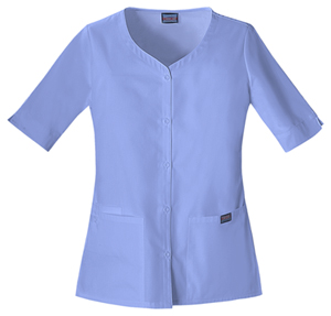 Cherokee Workwear WW Originals Women's Button Front Top Blue