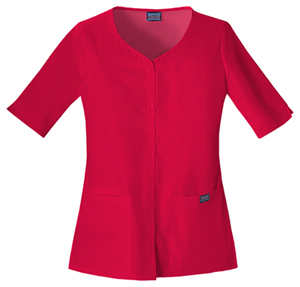 Cherokee Workwear WW Originals Women's Button Front Top Red