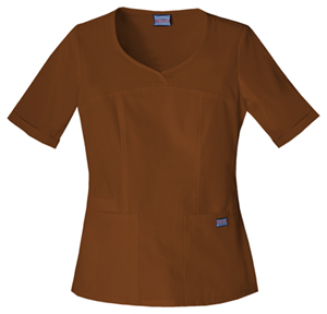 Cherokee Workwear WW Originals Women's V-Neck Top Brown
