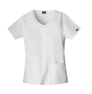 Cherokee Workwear WW Originals Women's Mock Wrap Top White