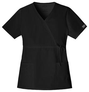 Cherokee Workwear WW Premium Women's Mock Wrap Top Black