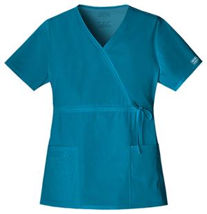 WW Premium Women's Mock Wrap Top Blue