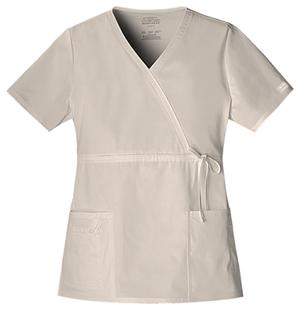 Cherokee Workwear WW Premium Women's Mock Wrap Top Khaki