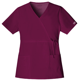 Cherokee Workwear WW Premium Women's Mock Wrap Top Purple