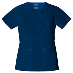 Cherokee Workwear WW Premium Women's Mock Wrap Top Blue