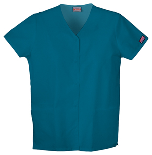 Cherokee Workwear WW Originals Women's Snap Front V-Neck Top Blue