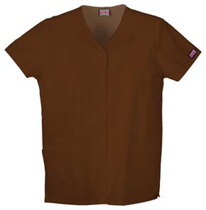 Cherokee Workwear WW Originals Women's Snap Front V-Neck Top Brown