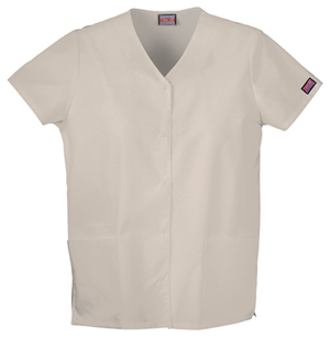 Cherokee Workwear WW Originals Women's Snap Front V-Neck Top Khaki