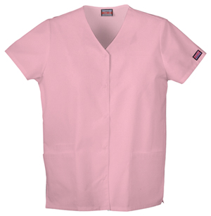 Cherokee Workwear WW Originals Women's Snap Front V-Neck Top Pink