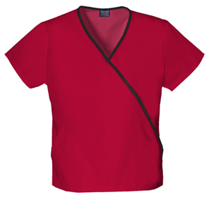 Cherokee Workwear WW Originals Women's Mini Mock Wrap Top Red