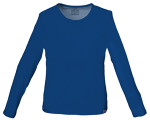 Cherokee Workwear WW Originals Women's Long Sleeve Crew Neck Knit Tee Blue