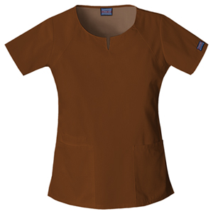 Cherokee Workwear WW Originals Women's Round Neck Top Brown