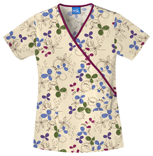Scrub HQ Cherokee Prints Women's Mock Wrap Top Khaki
