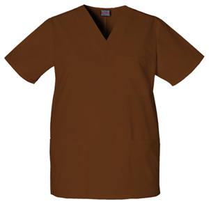 Cherokee Workwear WW Originals Unisex Unisex V-Neck Top Brown