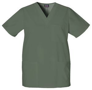 Cherokee Workwear WW Originals Unisex Unisex V-Neck Top Green