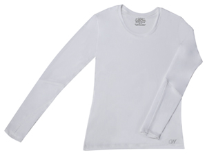 Cherokee Workwear Long Sleeve Underscrub Knit Tee White (4975-WTPS)