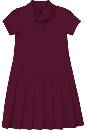 Classroom Uniforms Girl's S/S Pique Polo Dress Burgundy (54122-BUR)