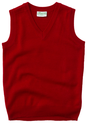 Classroom Uniforms Adult Unisex V-Neck Sweater Vest Red (56914-RED)