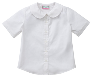 Classroom Uniforms Juniors Short Sleeve Peter Pan Blouse White (57554-WHT)