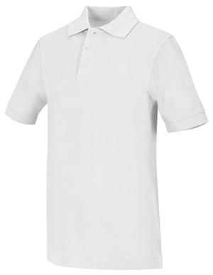 Classroom Child's Unisex Youth Unisex Short Sleeve Pique Polo White