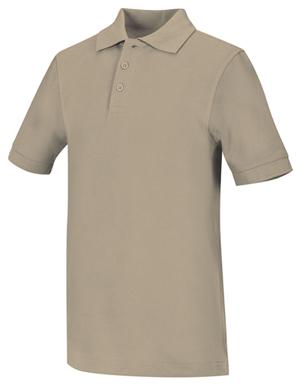 Classroom Unisex Adult Unisex Short Sleeve Pique Polo Khaki
