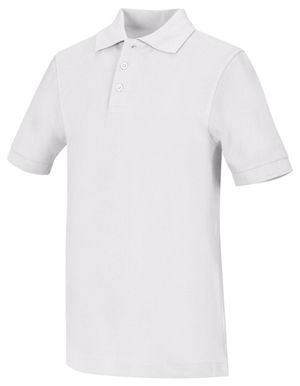 Classroom Unisex Adult Unisex Short Sleeve Pique Polo White