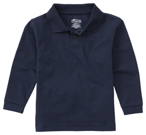 Classroom Child's Unisex Youth Unisex Long Sleeve Pique Polo Blue