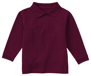 Classroom Uniforms Adult Unisex Long Sleeve Pique Polo Burgundy (58354-BUR)