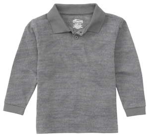 Classroom Uniforms Adult Unisex Long Sleeve Pique Polo Heather Gray (58354-HGRY)