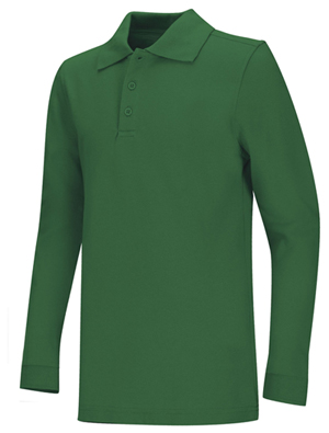 Classroom Uniforms Adult Unisex Long Sleeve Pique Polo Kelly Green (58354-KGRN)