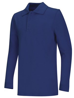 Classroom Unisex Adult Unisex Long Sleeve Pique Polo Blue