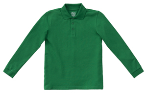 Classroom Uniforms Adult Unisex Long Sleeve Pique Polo SS Kelly Green (58354-SSKG)