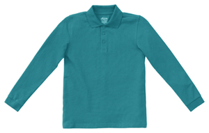 Classroom Uniforms Adult Unisex Long Sleeve Pique Polo Teal (58354-TEAL)