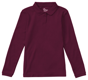 Classroom Uniforms Girls Long Sleeve Fitted Interlock Polo Burgundy (58542-BUR)