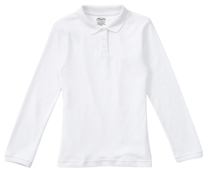 Classroom Uniforms Girls Long Sleeve Fitted Interlock Polo SS White (58542-SSWT)