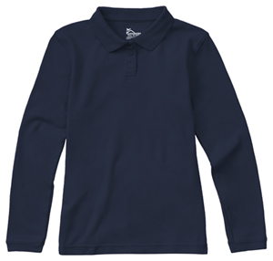 Classroom Uniforms Junior Long Sleeve Fitted Interlock Polo Dark Navy (58544-DNVY)