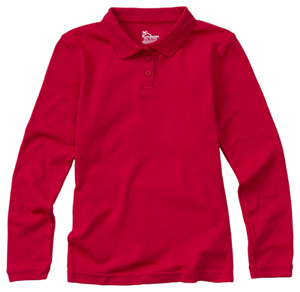 Classroom Uniforms Junior Long Sleeve Fitted Interlock Polo Red (58544-RED)