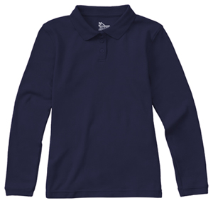 Classroom Uniforms Junior Long Sleeve Fitted Interlock Polo SS Navy (58544-SSNV)