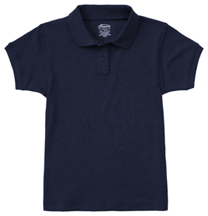 Classroom Uniforms Classroom Girl's Girls Short Sleeve Fitted Interlock Polo Blue