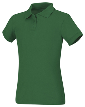 Classroom Girl's Girls Short Sleeve Fitted Interlock Polo Green