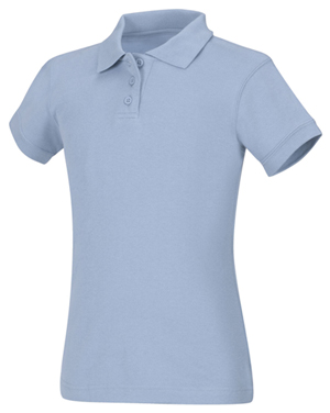 Classroom Uniforms Girls Short Sleeve Fitted Interlock Polo Light Blue (58582-LTB)