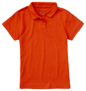 Classroom Girls Short Sleeve Fitted Interlock Polo (58582-ORG) (58582-ORG)