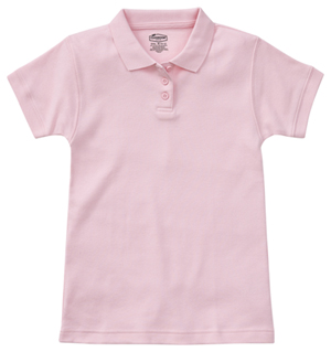 Classroom Girls Short Sleeve Fitted Interlock Polo (58582-PINK) (58582-PINK)