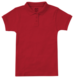 Classroom Uniforms Classroom Girl's Girls Short Sleeve Fitted Interlock Polo Red